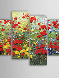 Oil Painting Red Flowers Set of 4 Hand Painted Canvas with Stretched Framed Ready to Hang