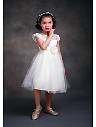 ELLIE'S BRIDAL A-line Knee-length Flower Girl Dress - Lace Satin Tulle Jewel with Flower(s) Sash / Ribbon