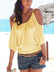 Damen Solide Sexy Lässig/Alltäglich T-shirt,Rundhalsausschnitt Sommer ½ Länge Ärmel Gelb / Lila Baumwolle / Polyester Dünn