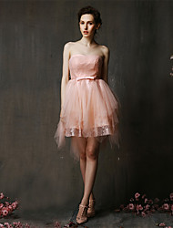 Asymmetrical Lace / Tulle Bridesmaid Dress A-line Sweetheart with Bow(s)