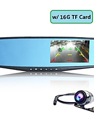 "4.3"" 1080P FHD Rearview Mirror Car DVR Dash Cam Dual Lens Camera Video Recorder+16G TF Card"