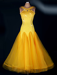 Ballroom Dance Dresses Women's Performance Spandex Draped 1 Piece Yellow Modern Dance Dress