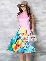 Women's Casual/Daily / Plus Size Simple / Street chic Sheath Dress,Floral Round Neck Knee-length Sleeveless Pink Polyester Summer