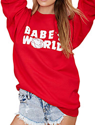 Women's Casual/Daily Simple Hoodies Print Red Polyester