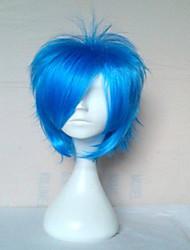 qualité supérieure bleu perruque cosplay perruques de cheveux synthétiques courte ligne droite perruques perruques animés du parti 072A de