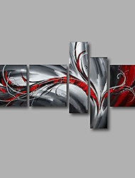 "Stretched (ready to hang) Hand-Painted Oil Painting 64""x40"" Canvas Wall Art Modern Abstract Grey Red"