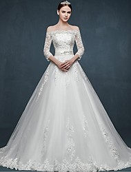 Ball Gown Wedding Dress-White Sweep/Brush Train Off-the-shoulder Tulle