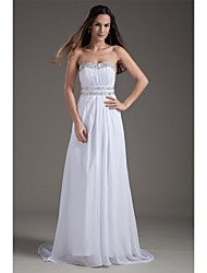 Sheath / Column Wedding Dress Sweep / Brush Train Strapless Chiffon with Beading / Draped