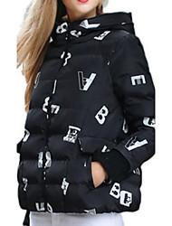 Women's Print Black Padded Coat,Plus Size Hooded Long Sleeve