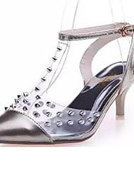 Women's Shoes PU Stiletto Heel Heels / Slingback / Closed Toe Heels Party & Evening / Dress Silver / Gold