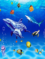 """(9'8 """"x 8'2""""ft)Photo Wall Paper Silk Cloth  Sea World Dolphin Backdrop Ceiling 3d Large Wall Mural Wallpaper"""