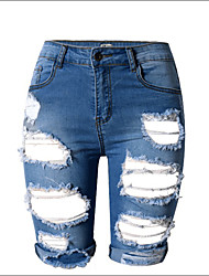 Shaperdiva Women's High Waist Retro Ripped  Denim Shorts Jeans