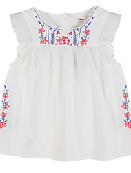 Girl's Casual/Daily Floral Dress,Cotton Summer Blue / Red