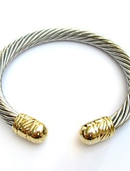 Beads End Cable Wire Stainless Steel Cuff Bangle