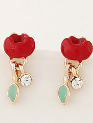 Women's European Style Concise Fashion Trend Lotus Flower Cute Stud Earrings