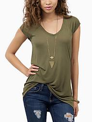 Damen Solide Einfach / Street Schick Ausgehen T-shirt,Rundhalsausschnitt Kurzarm Grün Kunstseide Dünn