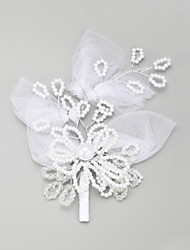 Women's Flower Girl's Lace Alloy Imitation Pearl Headpiece-Wedding Special Occasion Hair Pin 1 Piece
