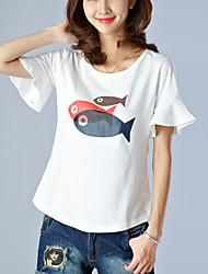 Women's Animal Print White T-shirt,Casual Round Neck Short Sleeve Ruffle Fashion Slim Thin Cotton