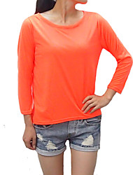 Damen T-Shirt  -  Gespleisst Baumwolle ¾-Arm Rundhalsausschnitt