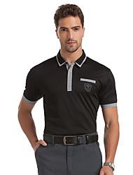 sete Brand® Masculino Colarinho de Camisa Manga Curta Camisa Preta-799T500401