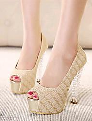 Women's Shoes Leatherette Stiletto Heel Heels / Peep Toe Heels Party & Evening Black / Almond