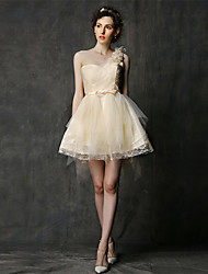 Asymmetrical Lace / Tulle Bridesmaid Dress A-line One Shoulder with Bow(s) / Flower(s)