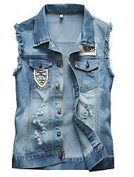 Men's Fashion Personality Wear White Slim Fit Washed Denim Vest,Cotton/Fashion/Jeans