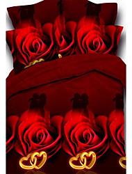 3D Fashion Comfortable Floral Print Bedding Four Piece