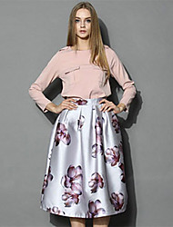 Women's Vintage Casual Print Party Inelastic Medium Midi Skirts (Polyester)