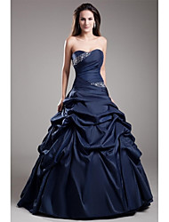 Ball Gown Strapless Floor Length Taffeta Formal Evening Dress with Beading Side Draping