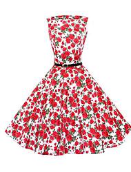 Women's Vintage Floral A Line Dress,Round Neck Knee-length Cotton