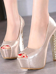 Women's Shoes Leatherette Stiletto Heel Heels / Peep Toe Heels Wedding / Party & Evening Silver / Gold