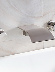 Waterfall Bathroom Sink Faucet Widespread Contemporary Design Faucet (Nickel Brushed Finish)