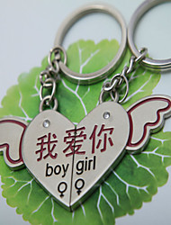 A Pair I Love You Angel Wings heart Couple Key Chain Ring Silver Lover Gift Key fob wedding souvenir