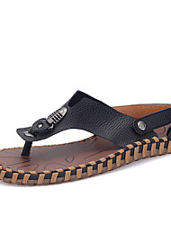 Men's Shoes Outdoor / Casual Leather Flip-Flops Black / Red / White