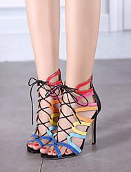Zapatos de mujer-Tacón Stiletto-Tacones / Punta Abierta-Sandalias / Tacones-Casual / Fiesta y Noche / Vestido-Microfibra-Negro / Almendra