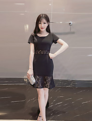 Women's Cute Patchwork A Line Dress,Round Neck Mini Polyester