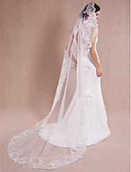 Luxurious One Tire Chapel Bridal Veils with Scalloped Lace Trim  ASV18