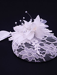 Women's Lace Rhinestone Flax Fabric Headpiece-Wedding Special Occasion Casual Outdoor Fascinators 1 Piece
