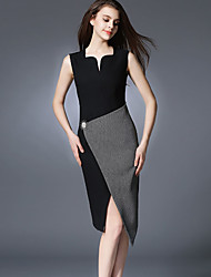 Women's Street chic Patchwork Bodycon Dress,Asymmetrical Asymmetrical Polyester