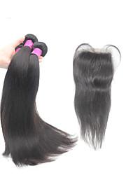 """Реми бразильский девственной человеческого волоса переплетения 8 """"-30"""" 1b прямо с 4 * 4 дюйма 120% закрытия верхней кружева 10 """"-24"""""""