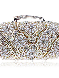 L.west Women Diamonds Pearl Flower Evening Bag