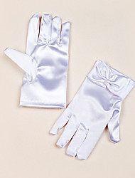 Wrist Length Fingertips Glove Satin Flower Girl Gloves Spring Summer Fall Winter Bow