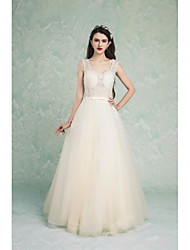 Formal Evening Dress-Champagne A-line V-neck Floor-length Tulle