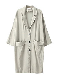 Women's Solid White / Black Coat,Simple Long Sleeve Cotton