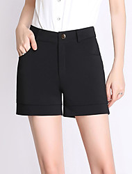 Women's Solid Black Business / Shorts Pants,Work / Casual / Day Fashion High waist Loose Thin Polyester/Spandex