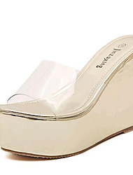 Women's Shoes Leatherette Wedge Heel Wedges / Heels Sandals / Slippers Outdoor / Casual White / Silver / Gold