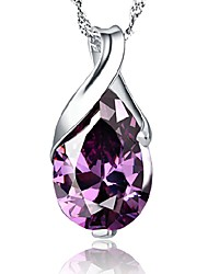 AAA Zircon Purple Tear Shape Sterling Silver CZ Necklace Pendant Necklaces Daily / Casual 1pc