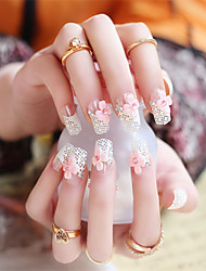 24pcs/set Fake Nails False Nail Finished Manicure Nails Tips Lattice Shape
