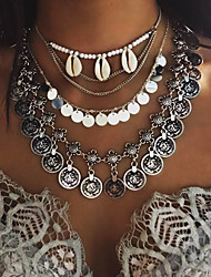 Feminino Colares com Pendentes Conchas Concha Liga Borlas Moda Estilo Boêmio Estilo simples Europeu Multi Camadas bijuterias Jóias Para